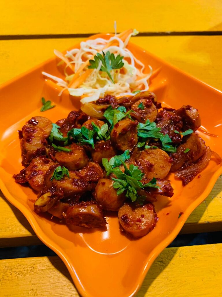 chilly sausage at nickyms kitchen calangute