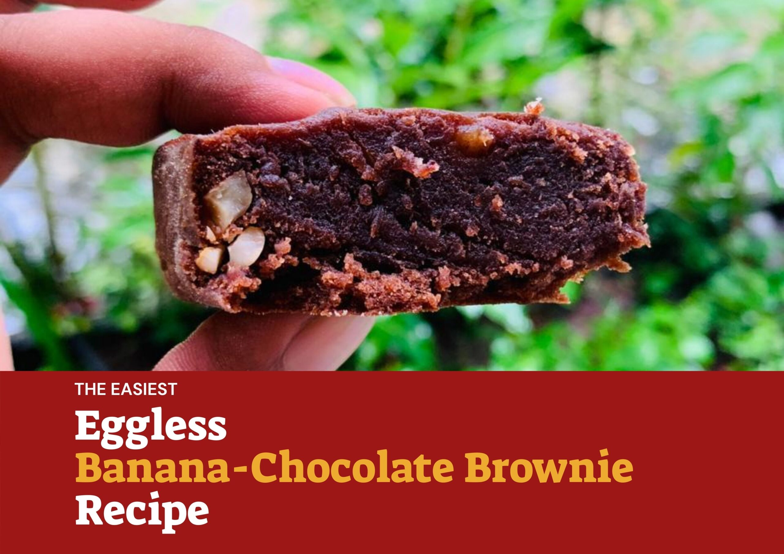 final banana chocolate brownie recipe banner outside